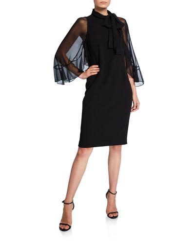 Tie-Neck Sheer-Sleeve Crepe Shift Dress