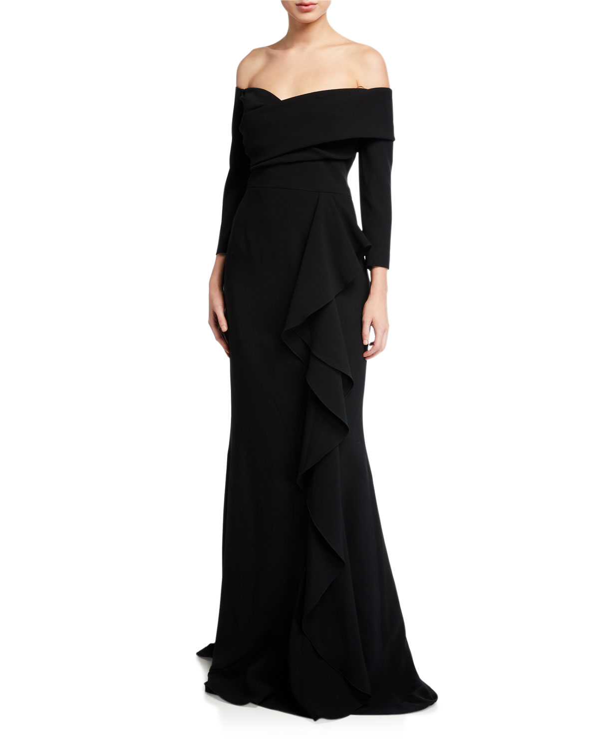 Rickie Freeman For Teri Jon Tops OFF-THE-SHOULDER 3/4-SLEEVE SIDE DRAPED CREPE GOWN