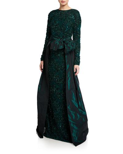 Long-Sleeve Soutache Lace Taffeta Over-Skirt Gown