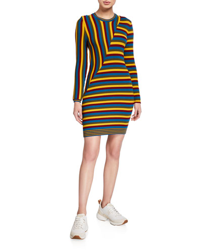 Multi-Stripe Long-Sleeve Dress