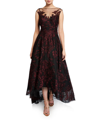 Cap-Sleeve High-Low Embroidered Tulle Illusion Dress