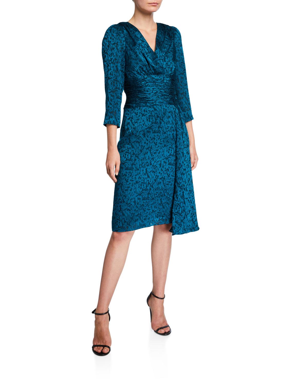 Rickie Freeman For Teri Jon Dresses V-NECK 3/4-SLEEVE BURNOUT SARONG DRAPED SKIRT DRESS