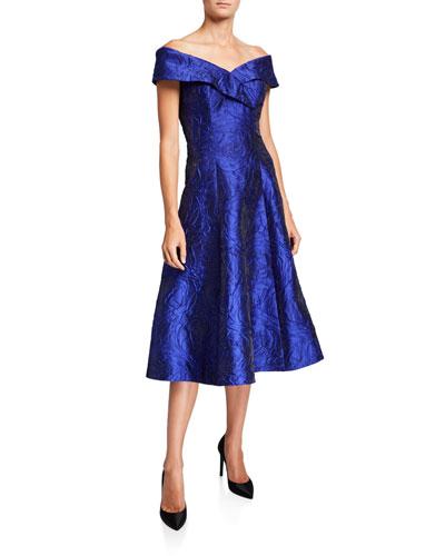 Off-the-Shoulder Fit-&-Flare Jacquard Dress