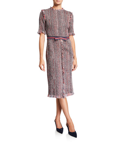 Short-Sleeve Tweed Sheath Dress w/ Grommet Belt Trim