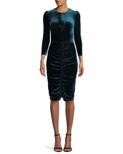 Bruna Ruched Velvet Bracelet-Sleeve Cocktail Dress