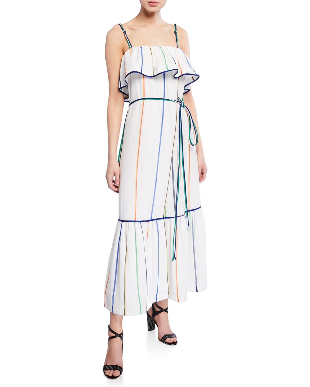 Derek Lam 10 Crosby Dresses STRIPED RUFFLE CAMI MAXI DRESS
