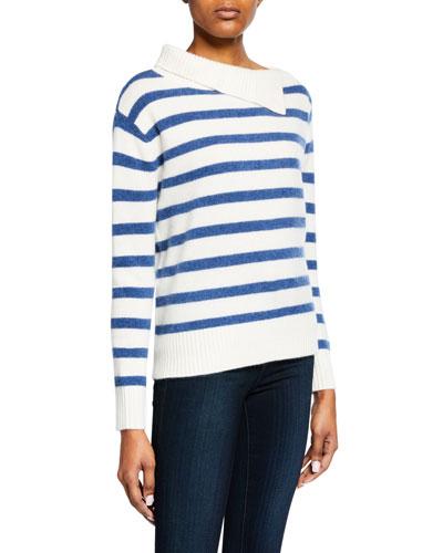 Byllie Striped High-Neck Pullover Sweater