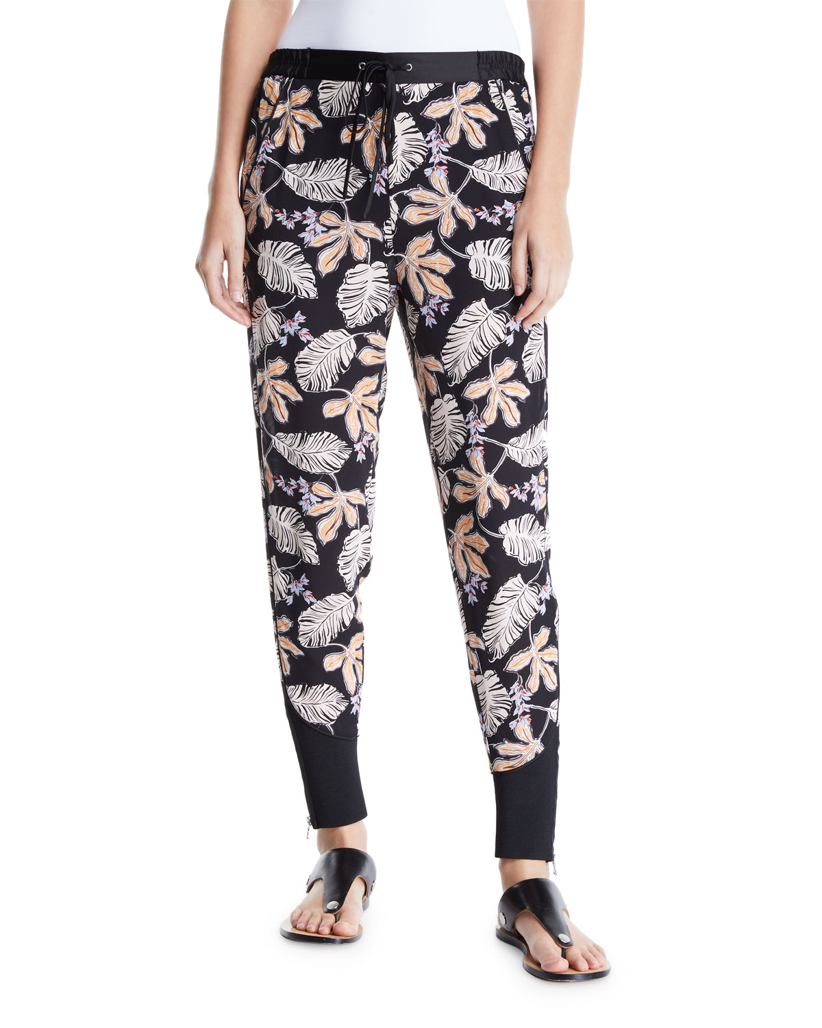 3.1 Phillip Lim Pants FLORAL LEAF CREPE JOGGER PANTS WITH PIPING