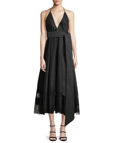 Deep V Dress With Bow