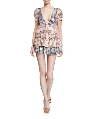 Lucinda Metallic Gingham Tiered Dress