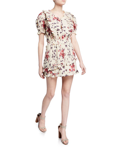 Sutton Floral Button-Front Ruffle Dress