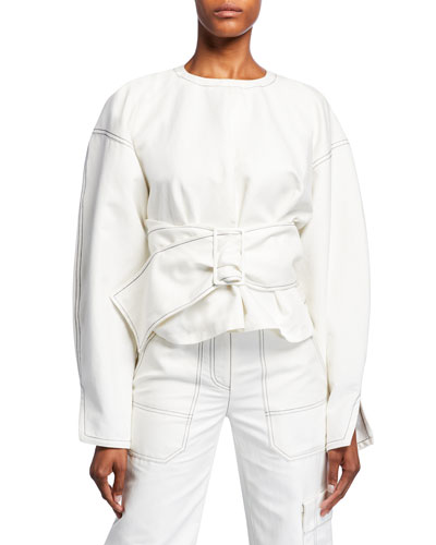 Long-Sleeve Twill Pullover with Belt