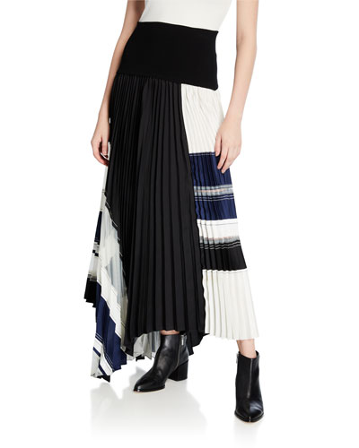 Pleated Skirt with Knitted Waistband