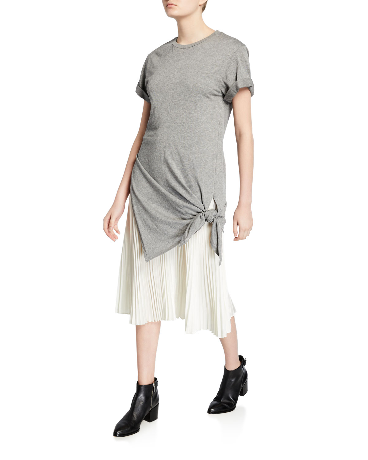 3.1 Phillip Lim Dresses SIDE-TIE CREWNECK TEE DRESS WITH PLEATING