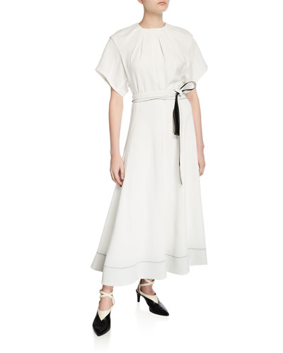 Fit-&-Flare Short-Sleeve Belted Long Dress