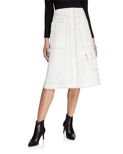 High-Waist Twill Skirt with Topstitching