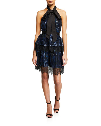 Tiered Check Sequined Mini Dress
