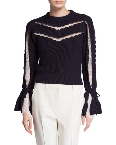 Knit Lace Cropped Sweater