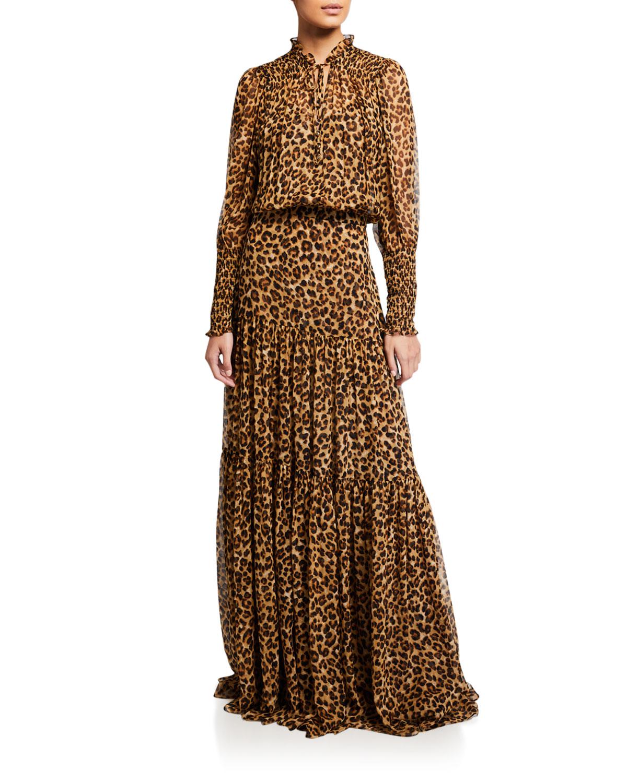 Veronica Beard Dresses STACIA LONG-SLEEVE LEOPARD-PRINT MAXI DRESS