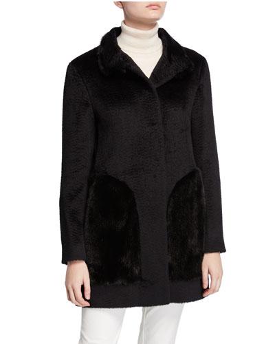 Mink Fur-Pocket Baby Suri Alpaca Coat