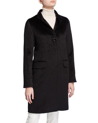 Walker Single-Breasted Pea Coat, Black