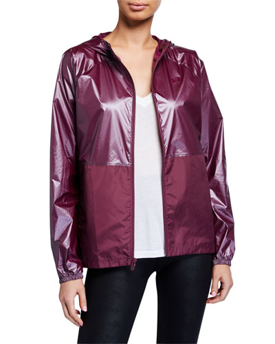 Metallic Woven Front-Zip Jacket