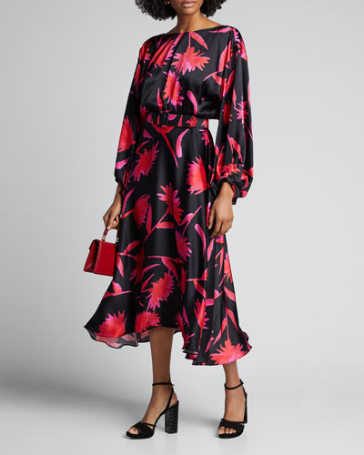 Kim Printed Blouson-Sleeve Midi Dress