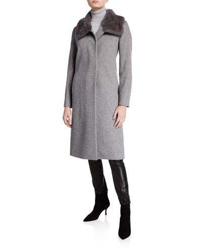 Mink-Trim Long Virgin Wool Coat