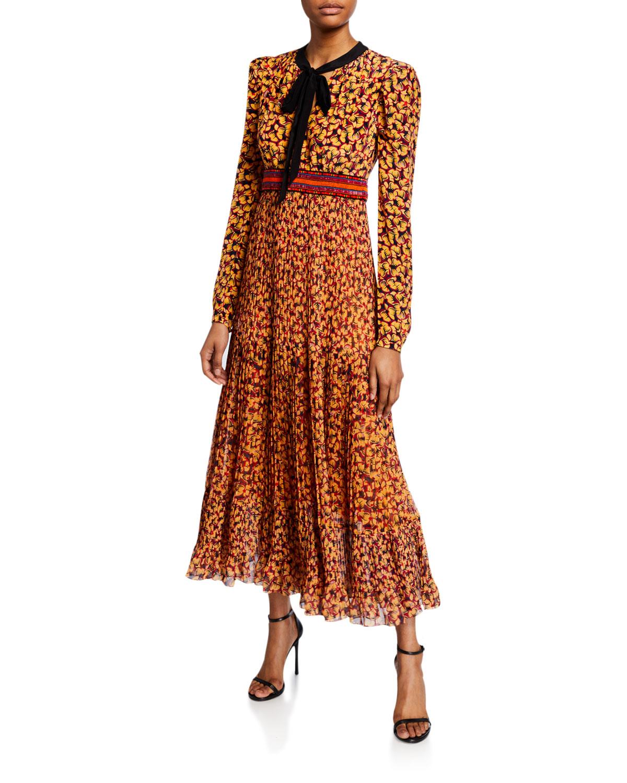 Saloni Dresses TALITHA PRINTED LONG-SLEEVE PLISSE DRESS