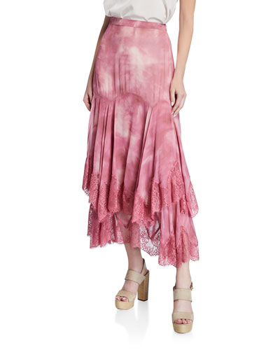 Jannah Tiered Lace Tie-Dye Long Skirt