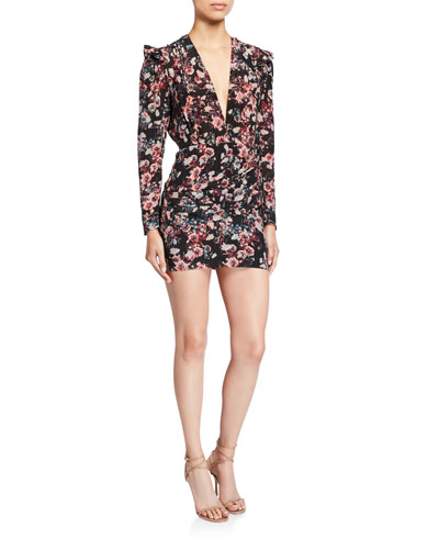 Merca Long-Sleeve Plunging Floral Mini Dress