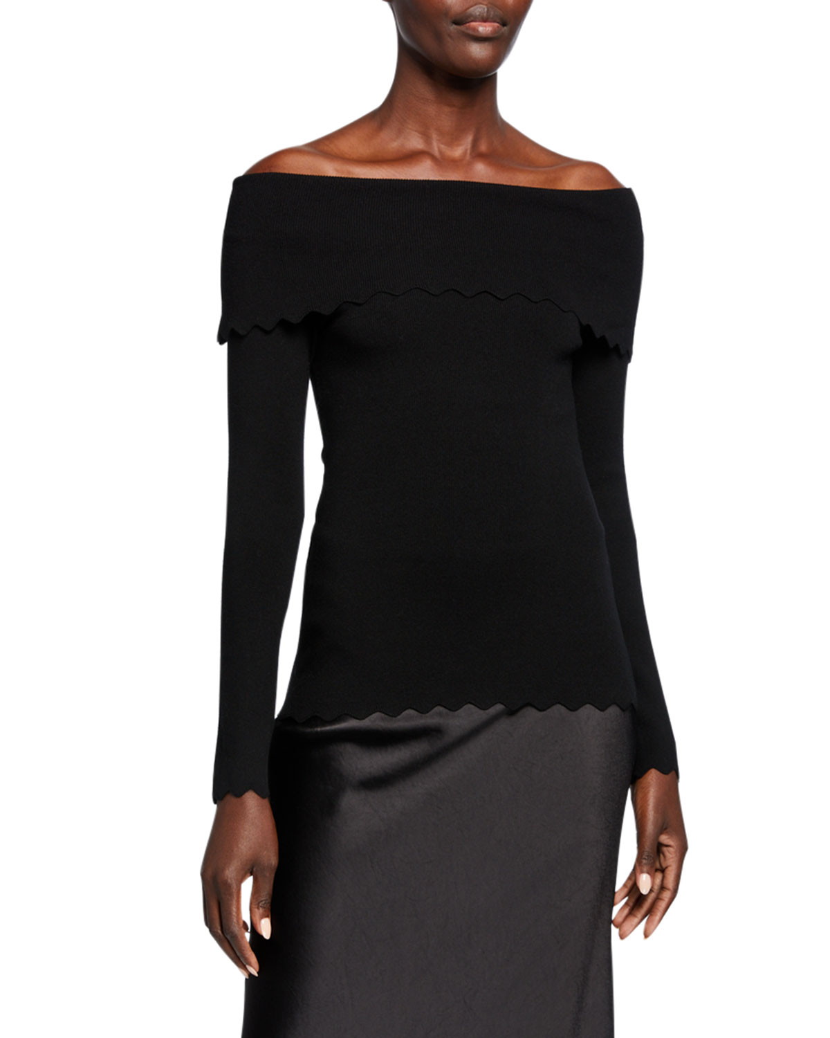 Milly Tops FOLD-OVER OFF-THE-SHOULDER LONG-SLEEVE SCALLOP TOP