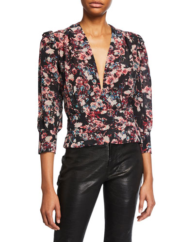 Vulca Plunging Floral-Print Cropped Top