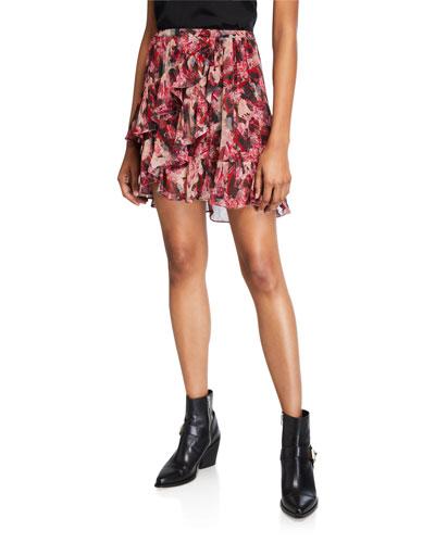 Vanilla Printed Ruffle Short Skirt