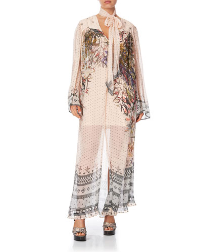 Printed Long-Sleeve Yoked Dress with Scarf