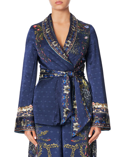 Relaxed Tie-Front Jacket with Godet