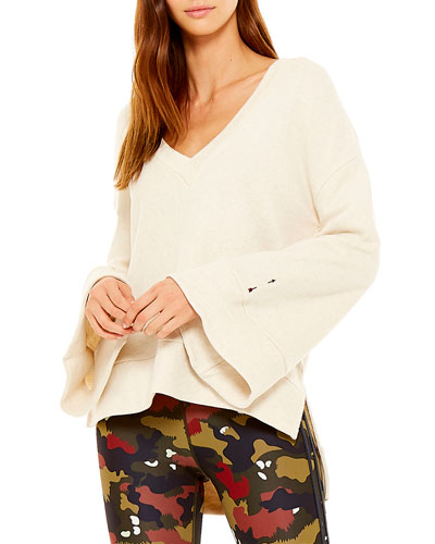Molly Flared-Sleeve V-Neck Sweater
