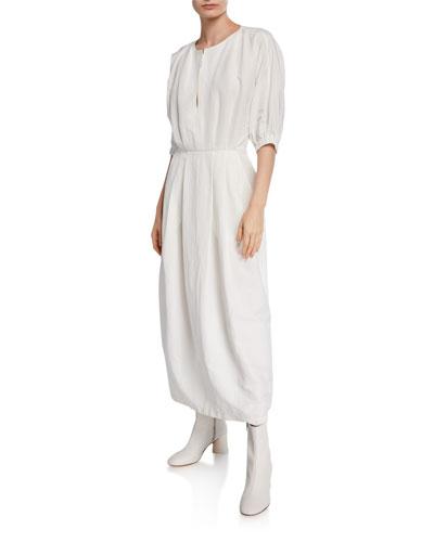 Virtuo Pleated Linen Long Dress