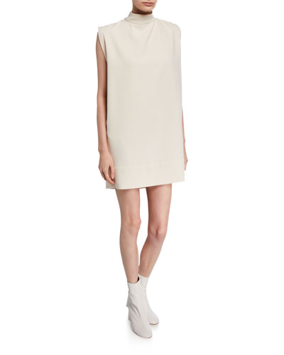 Ellis Mock-Neck Sleeveless Shift Dress