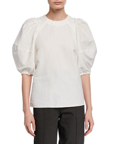Sambuco Puff-Sleeve Linen Top
