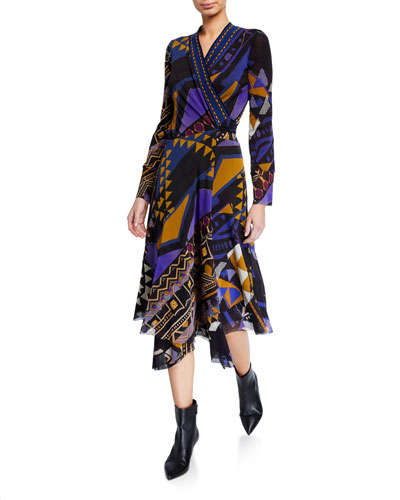 Printed Long-Sleeve Asymmetrical Wrap Dress