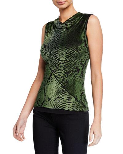Snake-Print Sleeveless Cowl-Neck Top