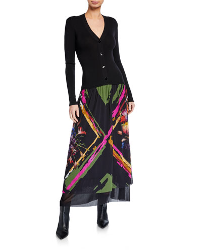 V-Neck Button-Front Printed Patchwork Floral Maxi Dress