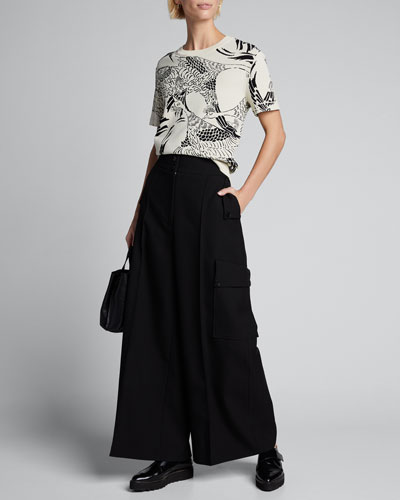 Printed Short-Sleeve Jacquard Top