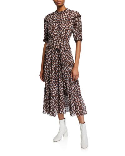 Alha Sash-Waist Tiered Dress