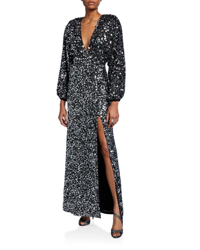 Camille Sequined Blouson-Sleeve Slit Dress