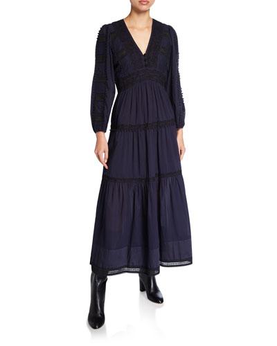 Silva Deep V Tiered Long Dress