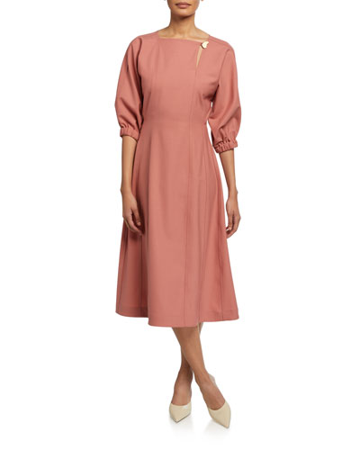 Hayes Blouson Sleeve Midi Dress