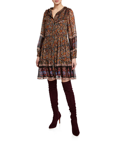Nicolette Long-Sleeve Printed Short Dress