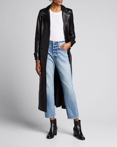 Belted Leather Double-Breasted Trench Coat